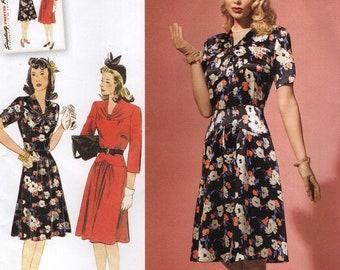 Simplicity 1587 RETRO REISSUE 1940s Dress Sizes 6, 8, 10, 12, 14 English & Spanish Instructions