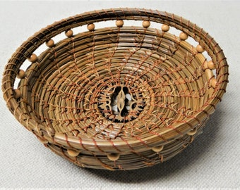 Pine Needle Basket Black Walnut Centered Pine Needle Basket Native American Pine Needle Coiled Basket For Him Basket For Her Walnut Basket