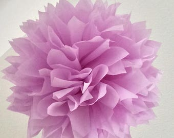 Lilac tissue paper pompom girl first 30 birthday party nursery decoration baby bridal shower bat mitzvah pastel purple wedding aisle marker