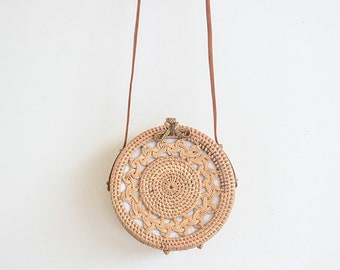 Round Rattan Bag Leather Crossbody Personalized Hand-bag White Lining  Customised Personalised Circle Travel Holiday Luxury Ata Brown Ribbon