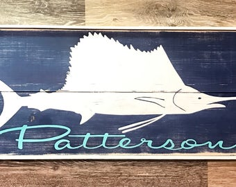 Made to order sailfish wood sign with name