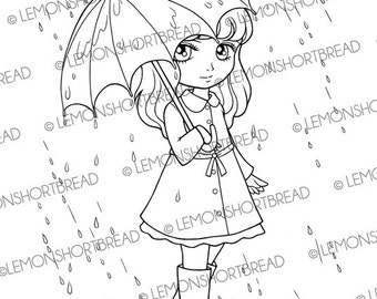 Digital Stamp Rainy Days Girl with Umbrella, Digi Download, Spring Summer Raincoat, Clip Art, Coloring Page, Scrapbooking