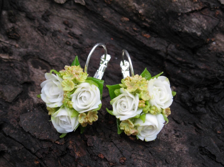 White Rose Earrings Rose Jewelry Flower Earring Flower Jewelry