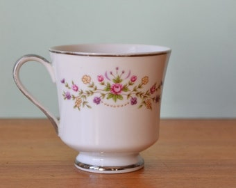 Vintage tea cup Japan pink, purple & yellows flowers ot3