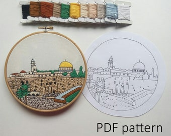 Jerusalem Hand Embroidery pattern PDF. Embroidery Hoop art, Hand Embroidery, Wall Decor, housewarming Gift. Free Hand embroidery guide!