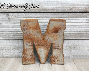 LETTER M Rustic Letter / Rustic Letter / standing letter or hanging / Initials / Industrial decor / Rustic decor / Galvanized