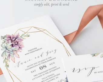 Succulent Wedding Invitation Set, Instant Download, 100% Editable Template, Printable Boho Cactus Invite, RSVP & Detail, Templett, DIY #041A