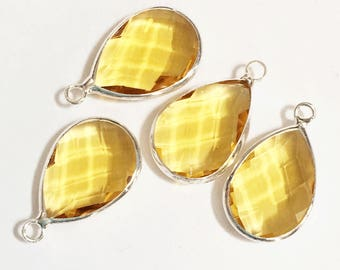 4 glass faceted teardrop pendant with silver frame, Yrllow Citrine color glass drops 22x14mm, framed glass teardrops