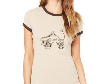Roller Skate Ringer Tee, Vintage Style Ringer Tee, Retro Roller Skating Tshirt, Short Sleeved, Hand Printed, Roller Derby Tshirt Speed Skate