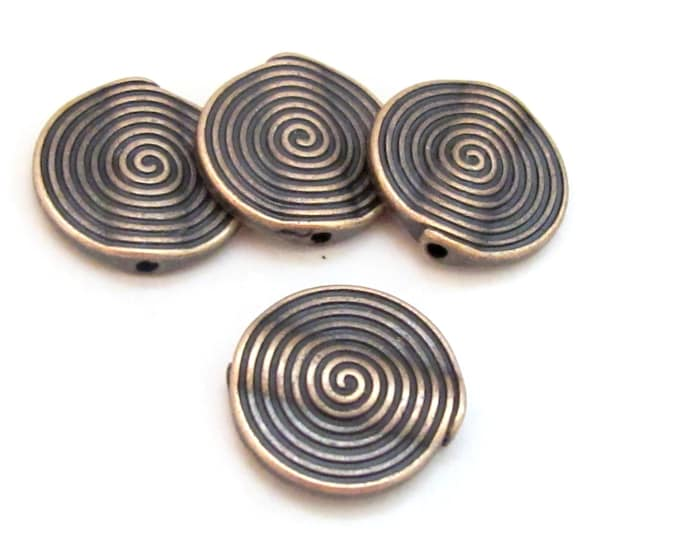 4 Beads - Concentric circles spiral design copper tone metal beads 18 mm - BD705