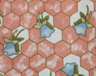 Vintage Retro Jersey Knit Fabric, Blue Tulip Flowers on Peach, Geometric Peach Mod Fabric, Almost 1 yard