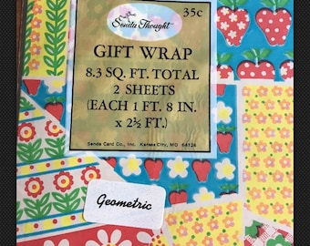 Vintage Gift Wrap wrapping paper Patchwork Strawberries Flowers