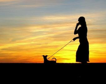 California Women walking dog