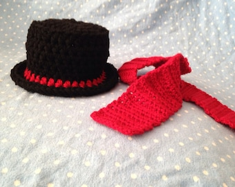 NEWBORN Top Hat and Scarf - Newborn to 3 Months Photo Prop - ANY colors - Reborn Doll Clothes - Made to Order - AG Doll Clothes