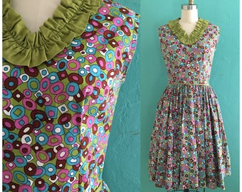 vintage 50's printed shirt waist dress // 1950's day dress