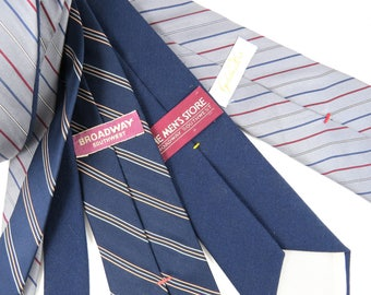 Vintage Neckties from ARIZONA Desert, Lot of 3, Broadway Southwest, Goldwaters, Navy Dark Blue and Grey, Stripes and Solid Mens Neckwear