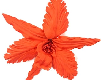 """7"""" Bright Orange Hand-Wired Orchid Millinery Fabric Flower Pin"""