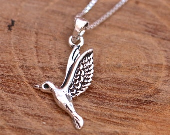 Sterling Silver Bird Necklace, Silver Goose Necklace, Silver Dove Necklace, Flying Bird Necklace, Bird Jewellery, Silver Bird, Gift for Her