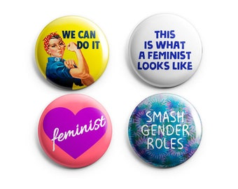 Feminist Pins, 4 Pack Feminist Buttons, Smash Gender Roles -  Pinback Button, Magnet, or Flair - Feminist Button, Feminist Badge