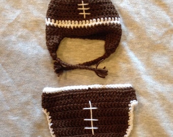Football Crochet Baby Hat and Diaper Cover ( FREE SHIPPING)