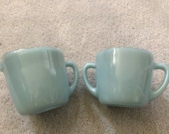 2 Fire King Jadeite mug set BLUE Cream Sugar Bowl Delphite