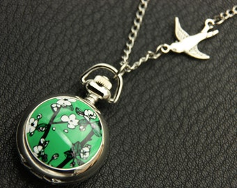 Cherry Necklace, Cherry Pocket watch, (2222m)