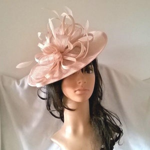 Stunning Nude Blush multi Sinamay Shaped disc Fascinator with double swirls , loops..wedding,races