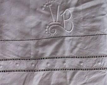 Laeken. Antique handembroidered French linen sheet with monogram VB. Vintage Bedsheet drap ancien