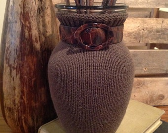 Unique Gift Idea Sweater Vase Table Top Decor Dark Sage Green Recycled Up-cycled Repurposed Handmade Modern Trendy Neutral Tortoise Shell