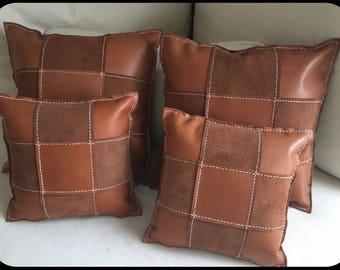 Leather Pillow Cases 4teiliges Set