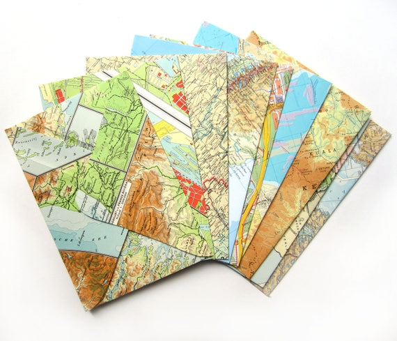 Set of 10 world map envelopes (Suitable for A6 cards)