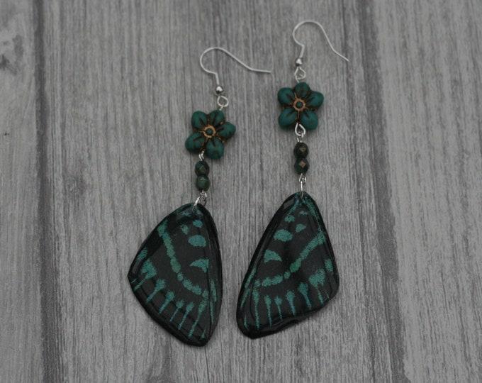 Green Butterfly Earrings, Butterfly Illustration, Dangle Earrings
