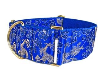 Dragon Martingale Collar, Gold and Blue Dog Collar, Greyhound Collar, Whippet Collar, Doberman Martingale, Wide Dog Collar, Dog Gift