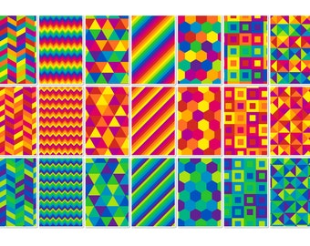 008 GEOMETRIC RAINBOW digital paper pack for scrapbooking, albums, cards and crafts