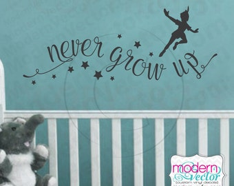 Peter Pan Never Grow Up Quote Vinyl Wall Decal Lettering Nursery with Stars