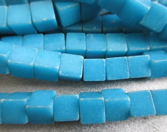 Dyed Blue Howlite Cubes Beads 51pcs