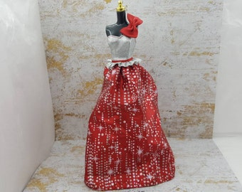 Barbie  Red and Silver with a Bow one sleeve gown fashions Outfit 11 inch doll