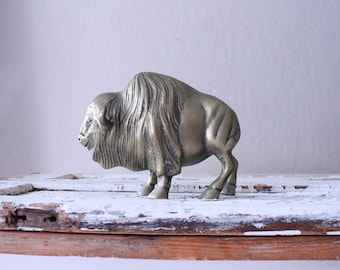 Vintage Brass Buffalo // Solid Brass Bison