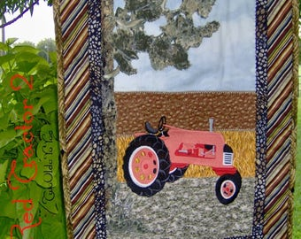 TRACTOR, QUILT, RED, Wall Hanging, Western Decor, Country, Farm, Man Cave, Gift for Men, Fathers Day, Birthday, Rustic, Landscape