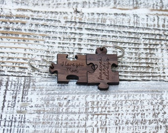 Puzzle Piece Keychains, Fit Together Puzzle Piece Keychain, Cute Wooden Engraved Keychain, Mother's Day Gift, Gift for Mom --31008-KC05-002