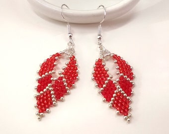 Red Russian Leaf Seed Bead Earrings, Beaded Boho Teardrop Earrings, Unique Earrings for Women