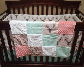Deer Baby Girl Blanket - Fawn, Feathers, Mint Arrows, Coral Minky, and White Crushed Minky Patchwork Blanket