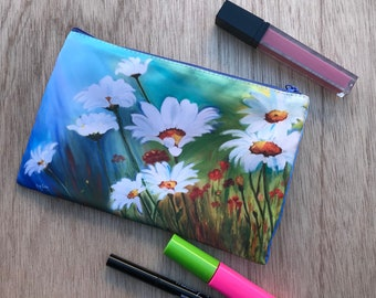 Fine Art Cosmetic Bag, Makeup Bag, Daisy Wallet, Small Purse, Pencil case, Phone Case, Flower Art Bag, Wedding Pouch, Toiletry Travel Bag