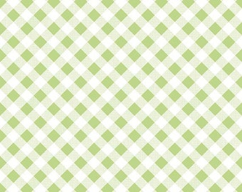 Riley Blake Sew Cherry 2 by Lori Holt Green Gingham 5808-GREEN Cotton Quilting Fabric by the Half Yard - DLP