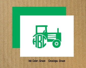 Tractor Note Cards, Set of 10, Tractor Monogram Note Cards, Tractor Monogram, Thank You Cards, Farm Birthday, Tractor Thank You Cards