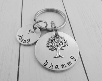 Grammy Key Chain - Personalized Custom Hand Stamped Keychain - Grammy Gift - Gift for Grandmother - Mother's Day Present - kg1895