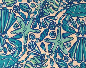 "blue sailor's valentine poplin cotton fabric square 18""x18"" ~ spring 2012 ~ lilly pulitzer"