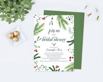Christmas BRIDAL SHOWER Invitation Template PDF, Christmas Invitation Template, Christmas Invites, Wedding Editable Download, Customizable