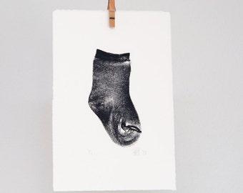 Baby sock print, sok, nursery decor, baby gift, hand printed wall art