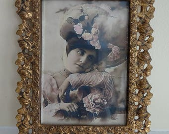 BEAUTIFUL Vintage Brass Metal Picture Frame with Ornate Cabbage Roses